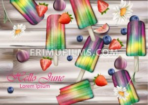 Colorful ice creams on wooden background Vector. Summer exotic fruits flavors ice cream - frimufilms.com
