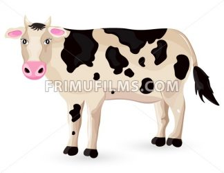 Cow isolated on white Vector. Cartoon character detailed illustration - frimufilms.com
