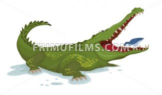 Crocodile and a bird Vector. Cartoon character illustration - frimufilms.com