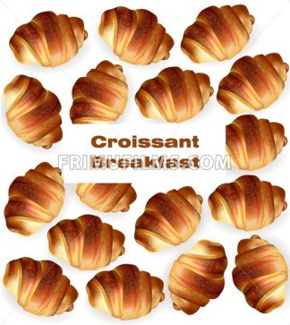 Croissant pattern Vector. Sweet fresh dessert breakfast menu - frimufilms.com