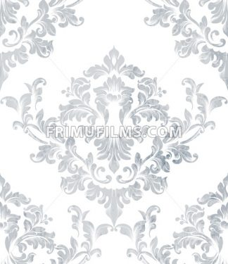 Damask texture pattern Vector. Luxury wallpaper ornament decor. Baroque Textile, fabric, tiles. Gray color - frimufilms.com