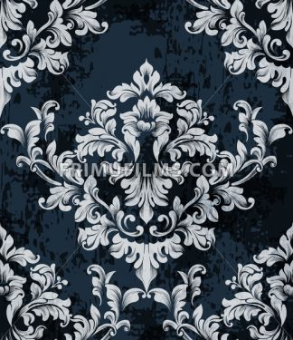 Damask texture pattern Vector. Luxury wallpaper ornament decor. Baroque Textile, fabric, tiles. Gray dark color - frimufilms.com