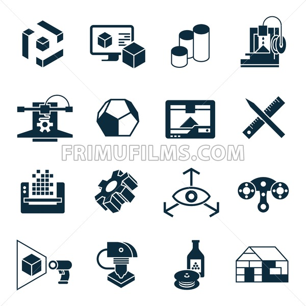 Digital vector 3d printing manufacturing technology icon set - frimufilms.com