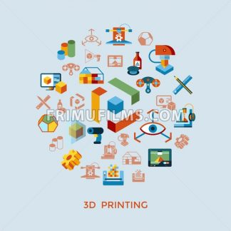 Digital vector 3d printing manufacturing technology icon set infographics - frimufilms.com