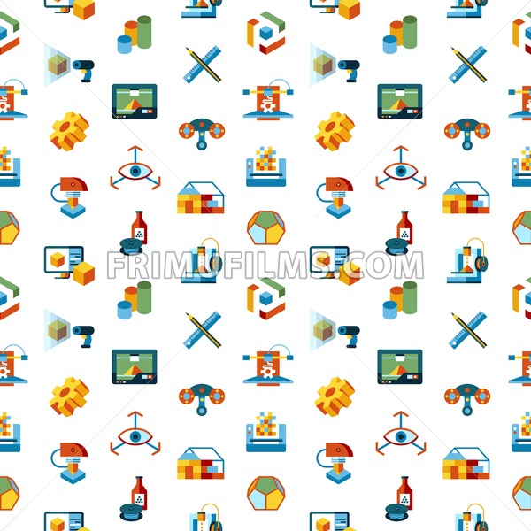 Digital vector 3d printing manufacturing technology icon set, seamless pattern - frimufilms.com
