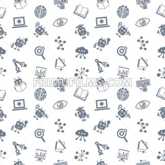 Digital vector aritificial intelligence self learning icon set, seamless pattern - frimufilms.com