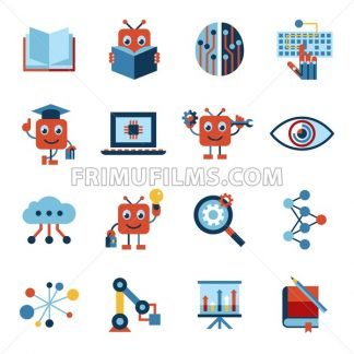 Digital vector artificial intelligence self learning icon set infographics - frimufilms.com