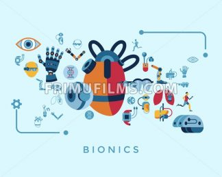 Digital vector bionics and artificial intelligence icon set infographics - frimufilms.com
