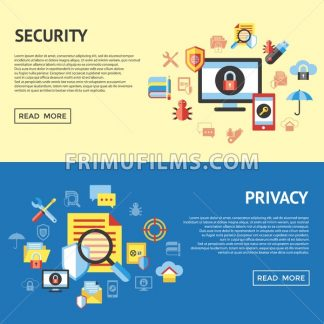 Digital vector data securuty and privacy protection icon set pack illustration, simple line flat style infographics - frimufilms.com
