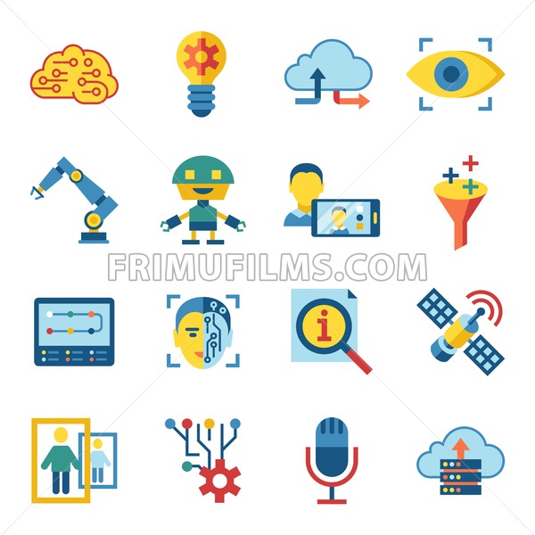 Digital Vector Deep Machine Learning And Artificial Intelligence Icon Set