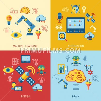 Digital vector deep machine learning and artificial intelligence icon set - frimufilms.com
