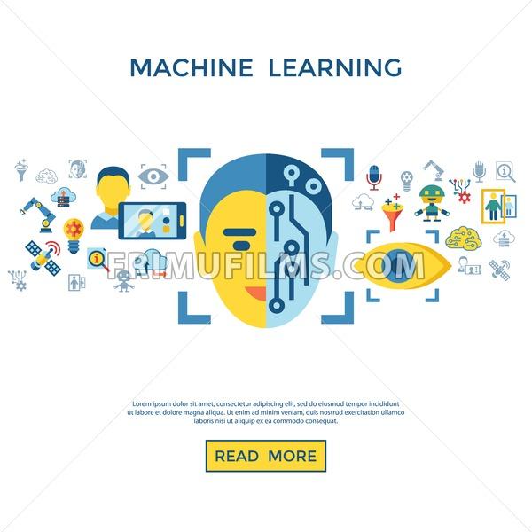 Digital vector deep machine learning and artificial intelligence icon set infogprahics - frimufilms.com