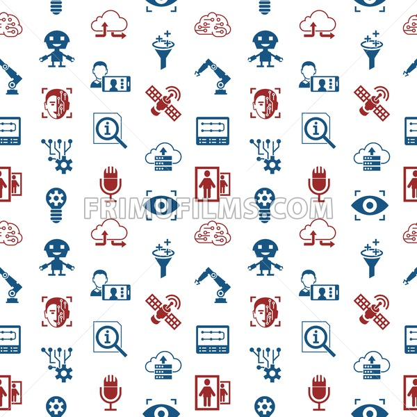 Digital vector deep machine learning and artificial intelligence icon set, seamless pattern - frimufilms.com