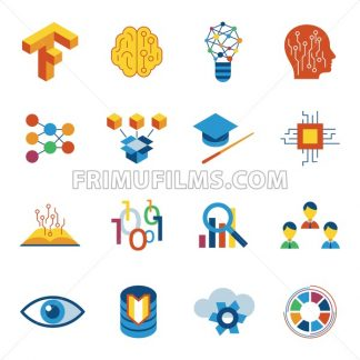 Digital vector deep structured learning and artificial intelligence icon set - frimufilms.com