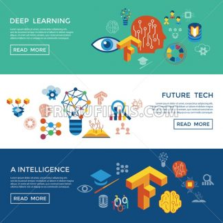 Digital vector deep structured learning and artificial intelligence icon set infogprahics - frimufilms.com