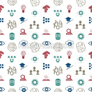 Digital vector deep structured learning and artificial intelligence icon set, seamless pattern - frimufilms.com