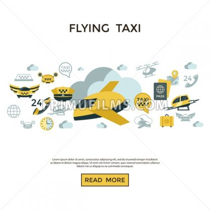 Digital vector flying taxi drone icon set pack illustration, simple line flat style infographics - frimufilms.com