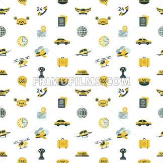 Digital vector flying taxi drone icon set pack illustration, simple line flat style seamless pattern - frimufilms.com