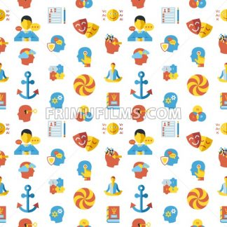 Digital vector neuro linguistic programming icon set, seamless pattern - frimufilms.com