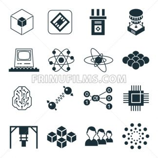 Digital vector quantum computing and qubits icon set pack illustration, simple line flat style - frimufilms.com