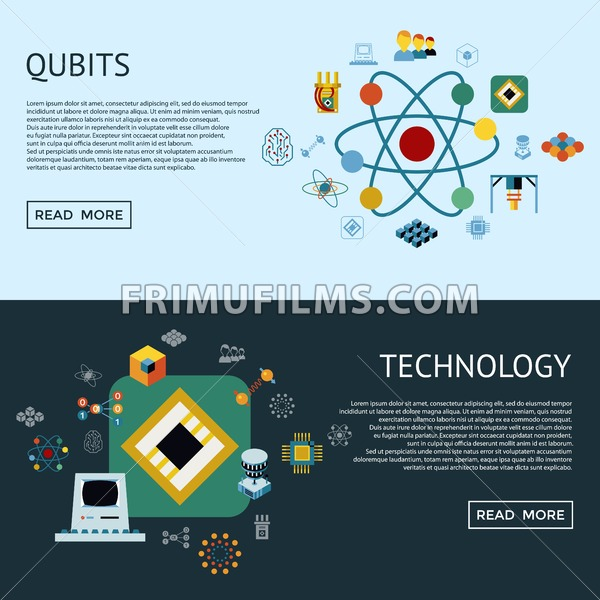 Digital vector quantum computing and qubits icon set pack illustration, simple line flat style infographics - frimufilms.com