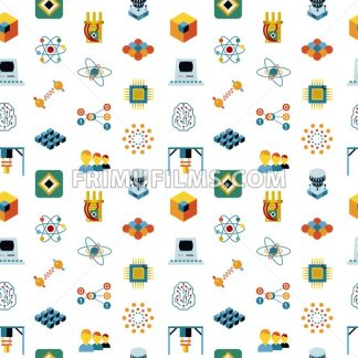 Digital vector quantum computing and qubits icon set pack illustration, simple line flat style seamless pattern - frimufilms.com