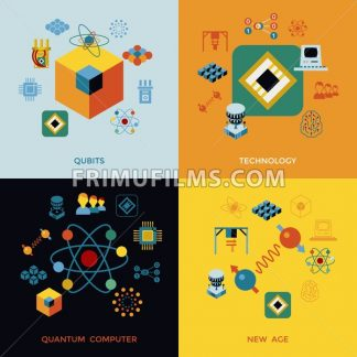 Digital vector quantum computing and qubits tech icon set pack illustration, simple line flat style infographics - frimufilms.com
