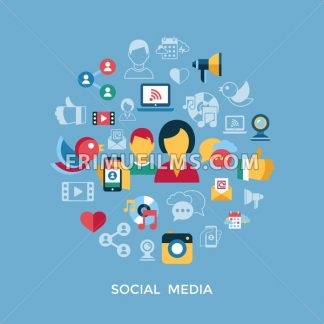 Digital vector social media and communication network icon set infographics - frimufilms.com