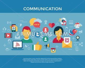 Digital vector social media and communication network icon set infographics - frimufilms.com