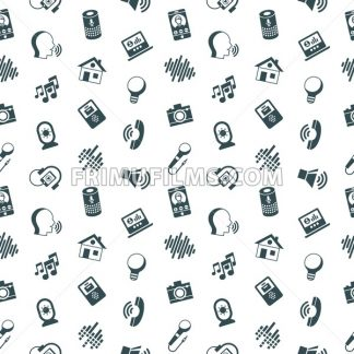 Digital vector voice control user interface and artificial intelligence icon set, seamless pattern - frimufilms.com