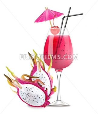 Dragon fruit cocktail Vector. Realistic summer drink tropic juice 3d illustration - frimufilms.com
