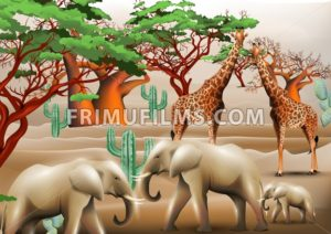 Elephants and giraffes safari background Vector illustration templates - frimufilms.com