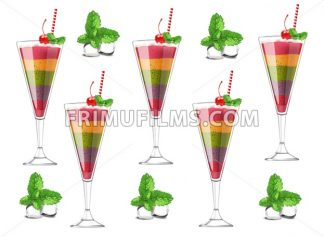 Exotic fruits cocktail pattern Vector realistic. Layers of different fruits strawberry, blueberry, kiwi, orange, cherry. ice cubes and mint - frimufilms.com