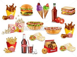 Fast food meals set collection Vector. Realistic detailed collection banner with hotdog, burger, sanwich, french fries, donuts, ice cream, pop corn - frimufilms.com