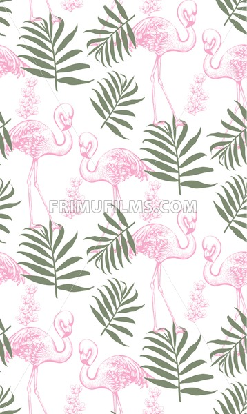 Flamingos and palm leaves seamless pattern Vector. Summer tropical background texture - frimufilms.com