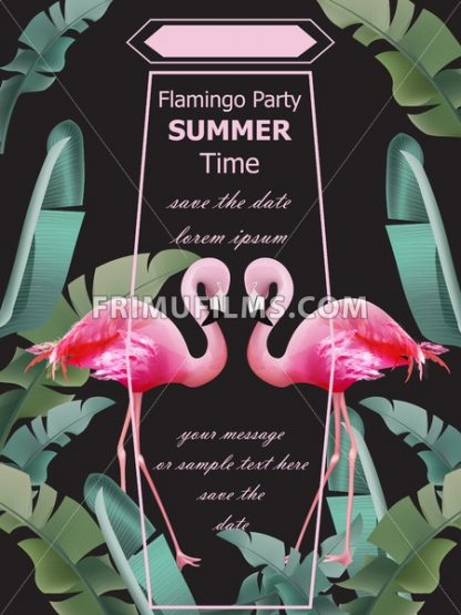 Flamingos party Summer card Vector. Tropic exotic dark poster - frimufilms.com