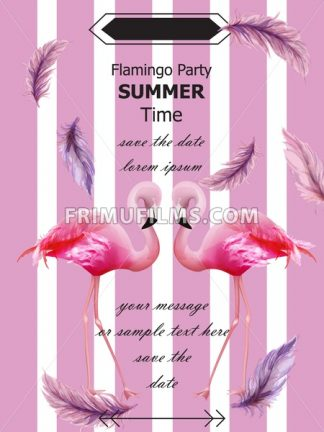 Flamingos party Summer card Vector. Tropical exotic pink flamingos flyer or banner - frimufilms.com