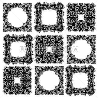 Frame collection set Vector. Classic rich ornamented carved decors. Baroque sophisticated design - frimufilms.com