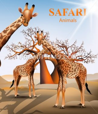Giraffe and baobab tree safari background Vector. Animals wildlife illustration - frimufilms.com