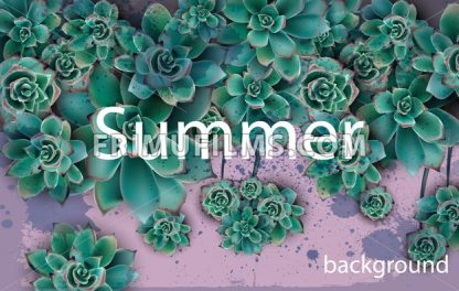 Green background Vector. Beautiful card with succulent stars floral design - frimufilms.com