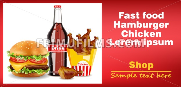 Hamburger, chicken wings and soda drink banner Vector. detailed 3d illustration - frimufilms.com