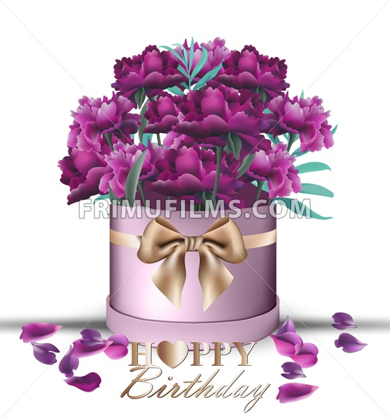 Happy Birthday Peony flowers bouquet card Vector. Vintage gift box.  Beautiful floral decor. ultra violet color