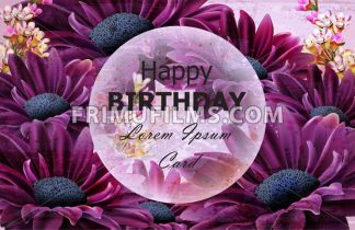 Happy Birthday daisy flowers card Vector. Floral decor background - frimufilms.com