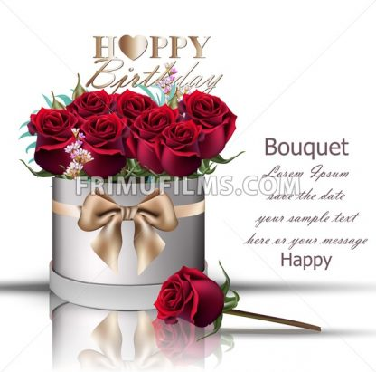 Happy Birthday red roses bouquet Vector. Vintage floral gift box with bow - frimufilms.com