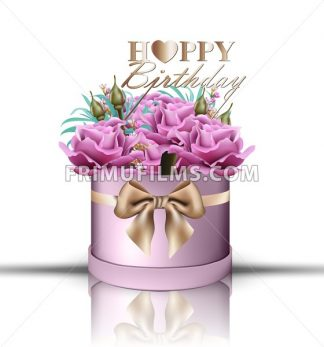 Happy Birthday roses bouquet Vector. Vintage floral gift box violet color - frimufilms.com