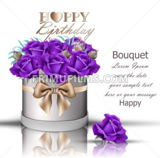 Happy Birthday violet roses bouquet Vector. Vintage floral gift box with bow - frimufilms.com
