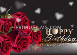 Happy birthday red roses background Vector. Vintage floral decor black color - frimufilms.com