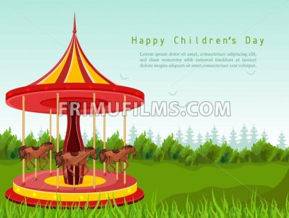 Happy children day card with horse carousel Vector. detailed illustration - frimufilms.com
