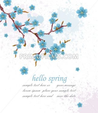Hello spring vintage background with blue flowers. Vector illustration. Minimalistic elegant card background - frimufilms.com