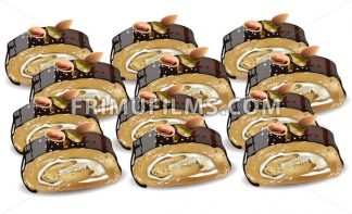 Homemade Chocolate and pistachio roll dessert Vector illustration - frimufilms.com